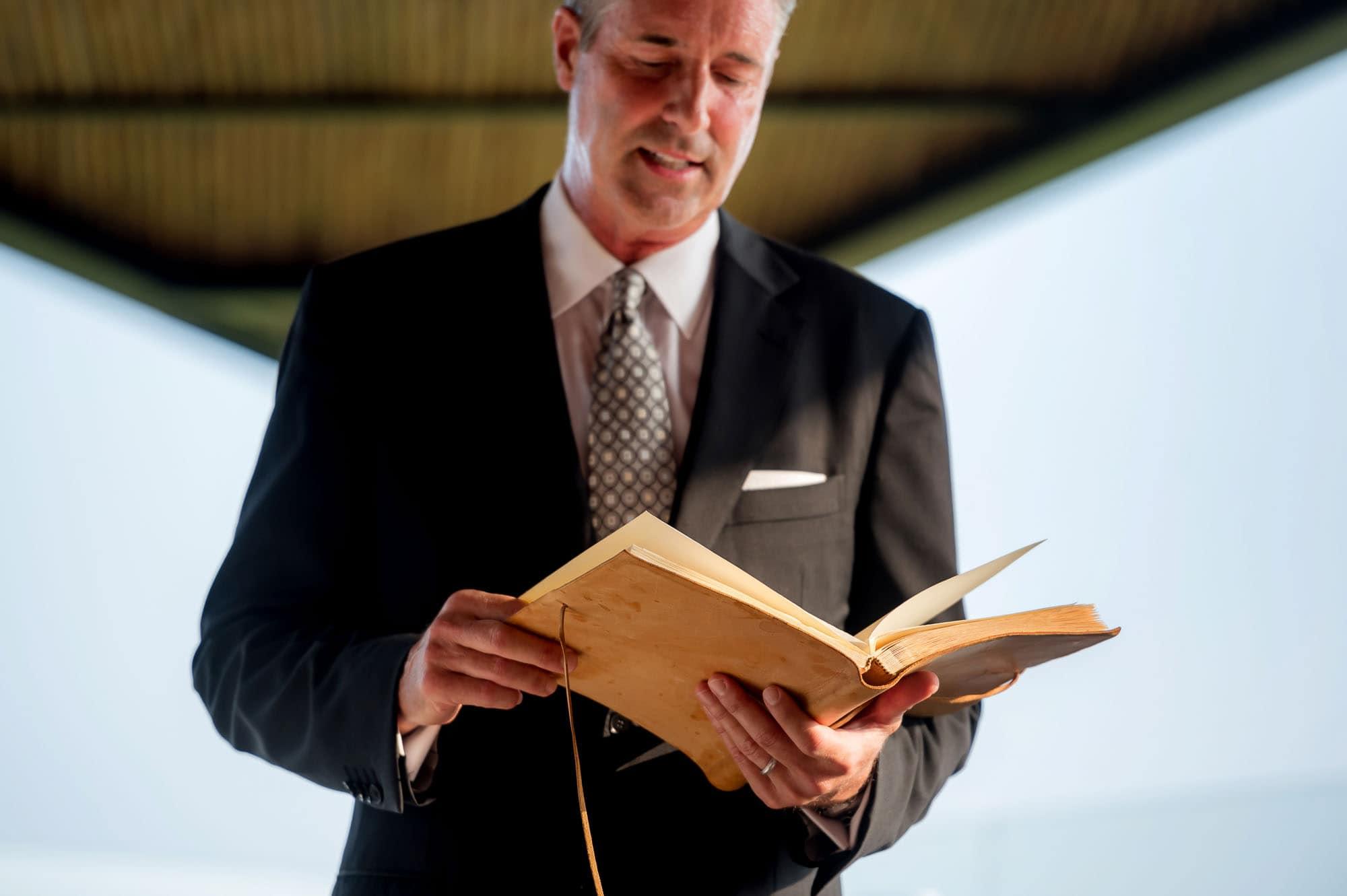 Matt's dad as the officiant