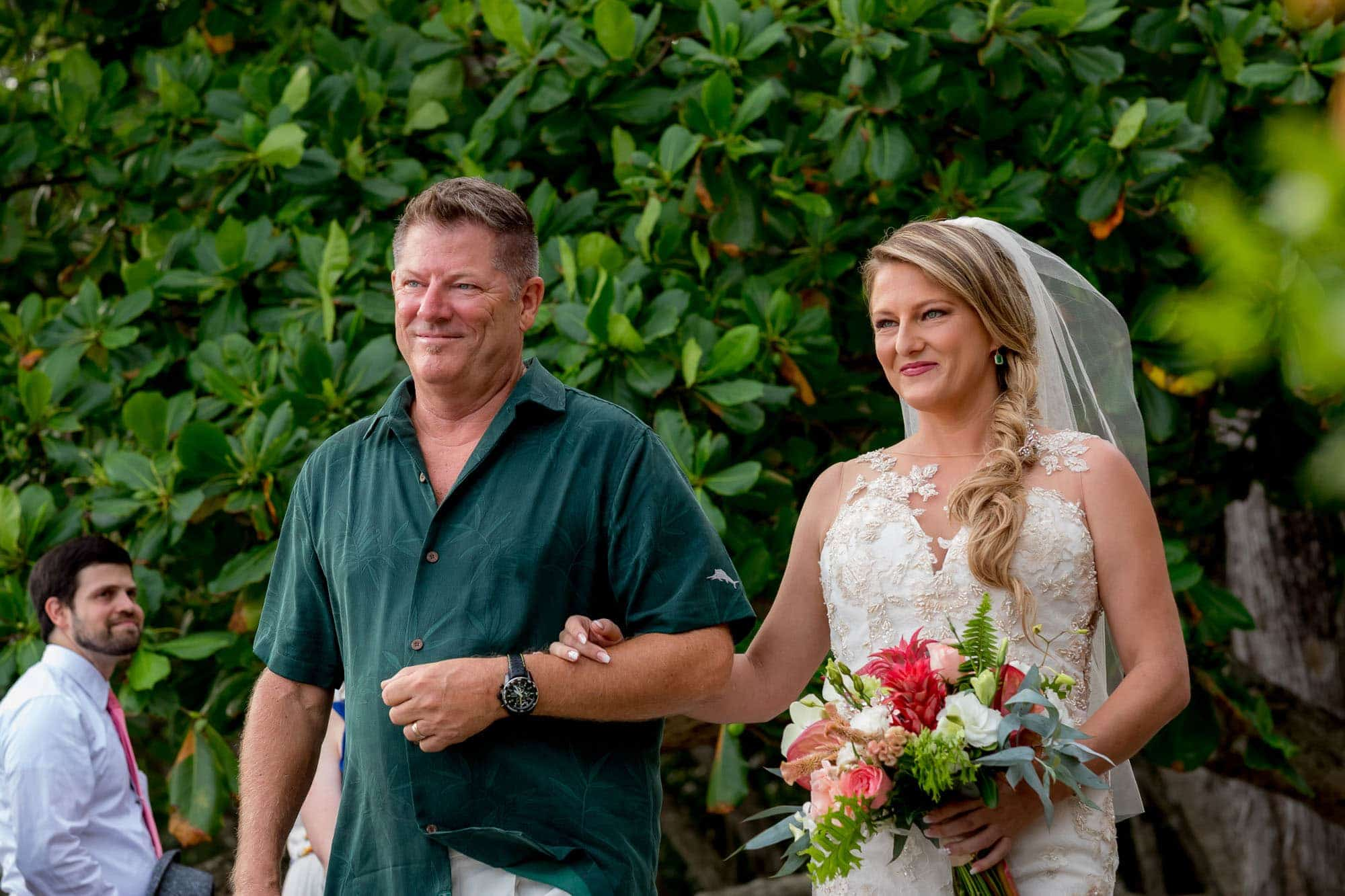The bride entering with her dad
