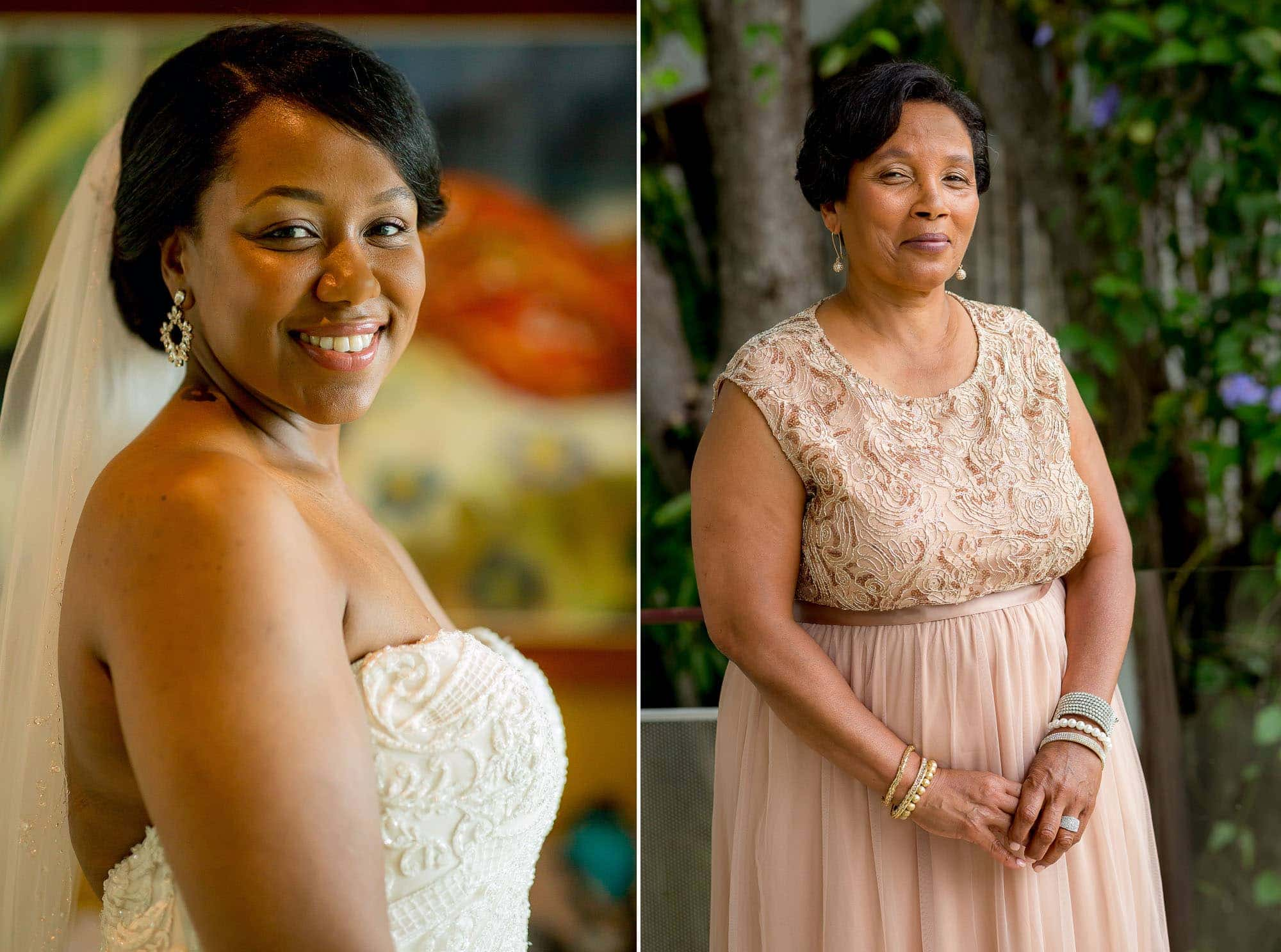 Portraits of the bride and her mom