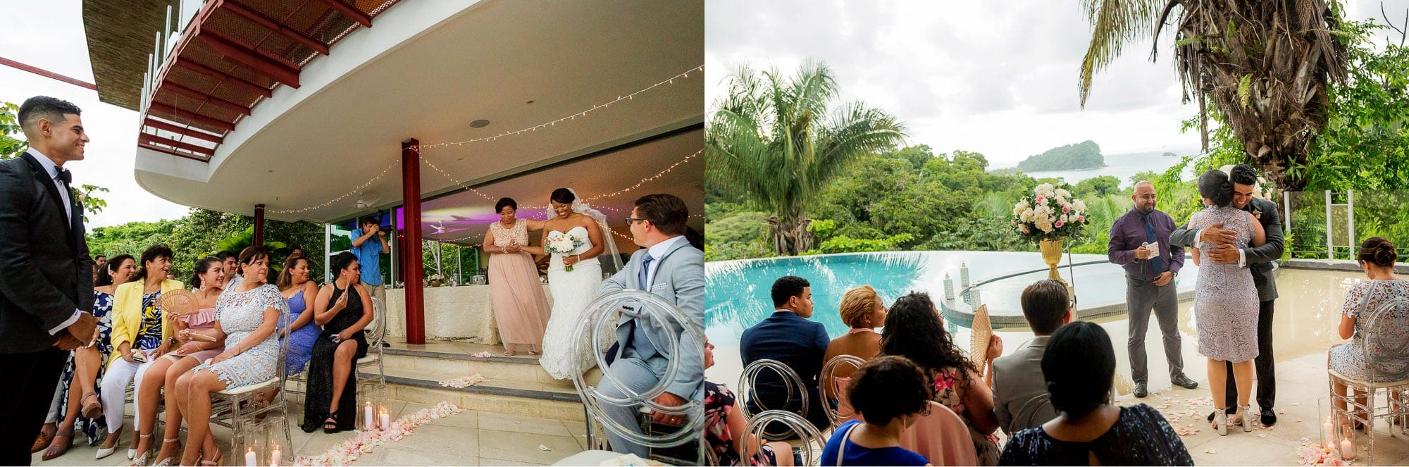 Wedding venue ideas: clear seating in front a pool with a breathtaking view
