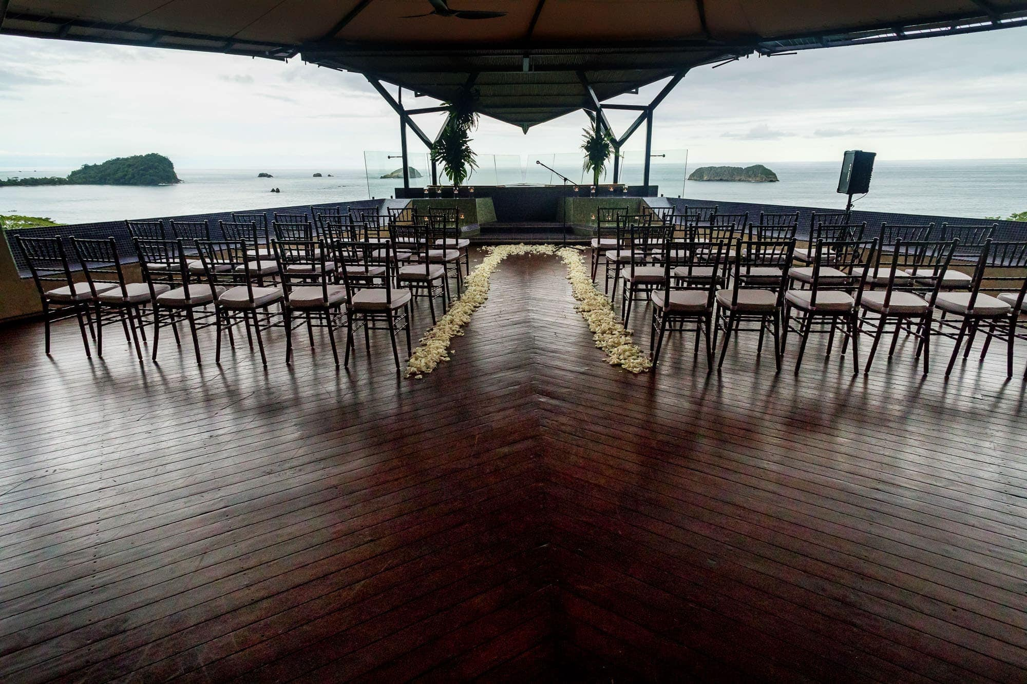 The ceremony location setup