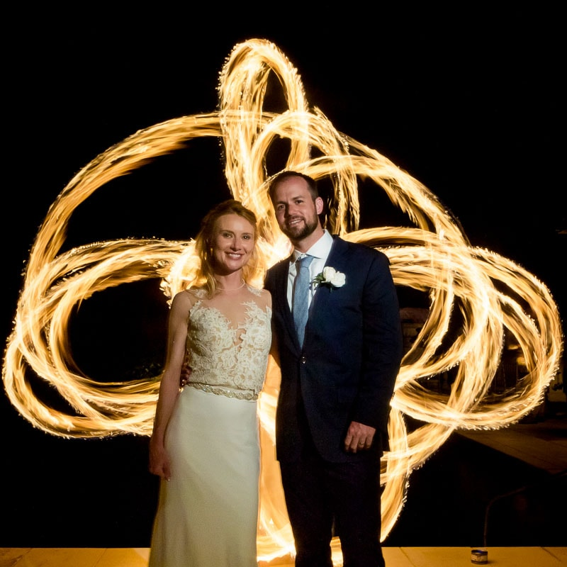 Fire dancer at wedding