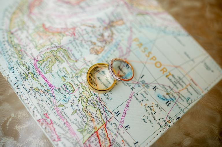wedding rings shown on a map