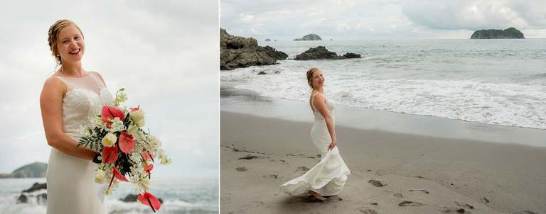 Bride dancing on the beach on her way to get married