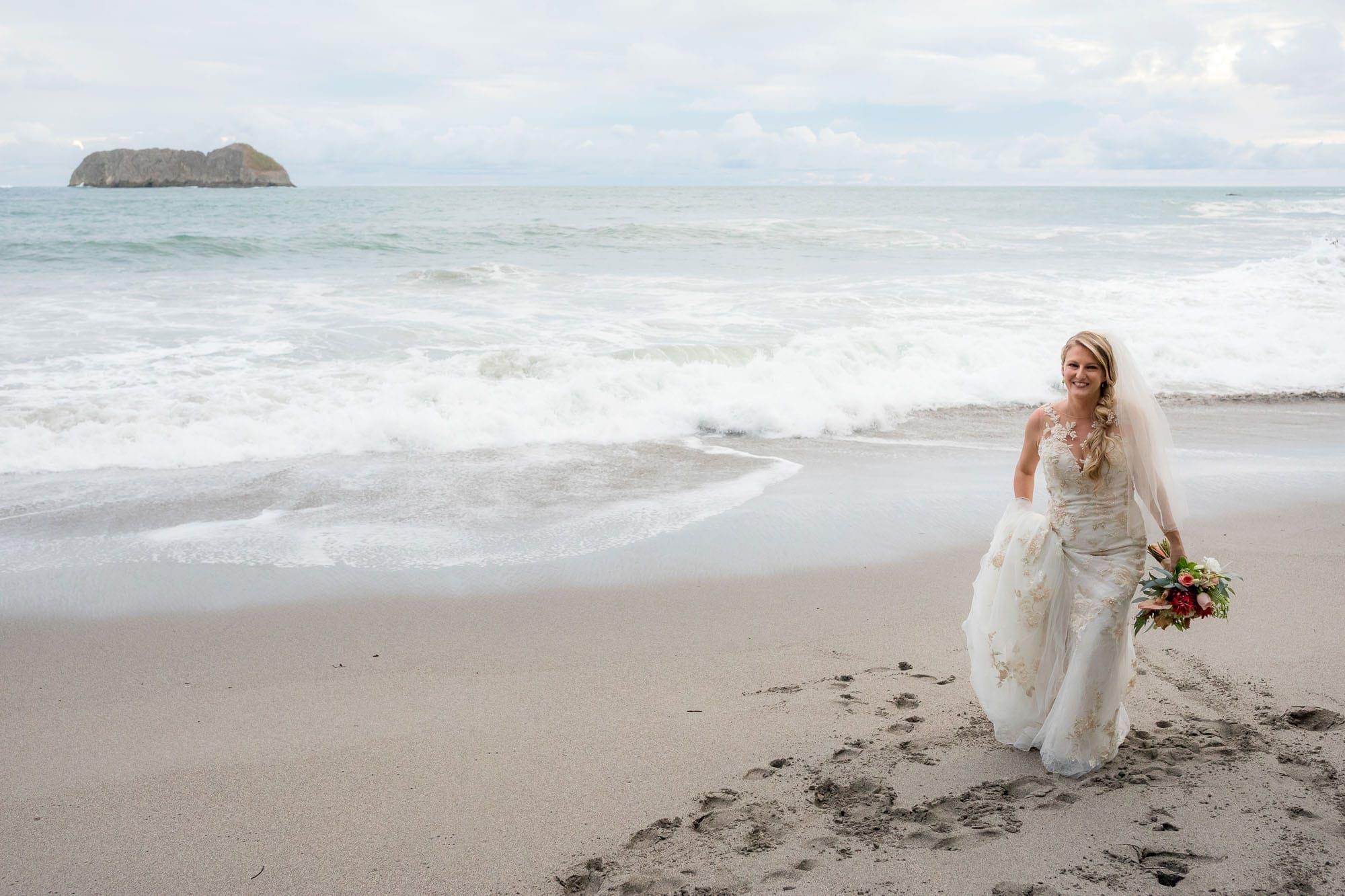 bride at beach