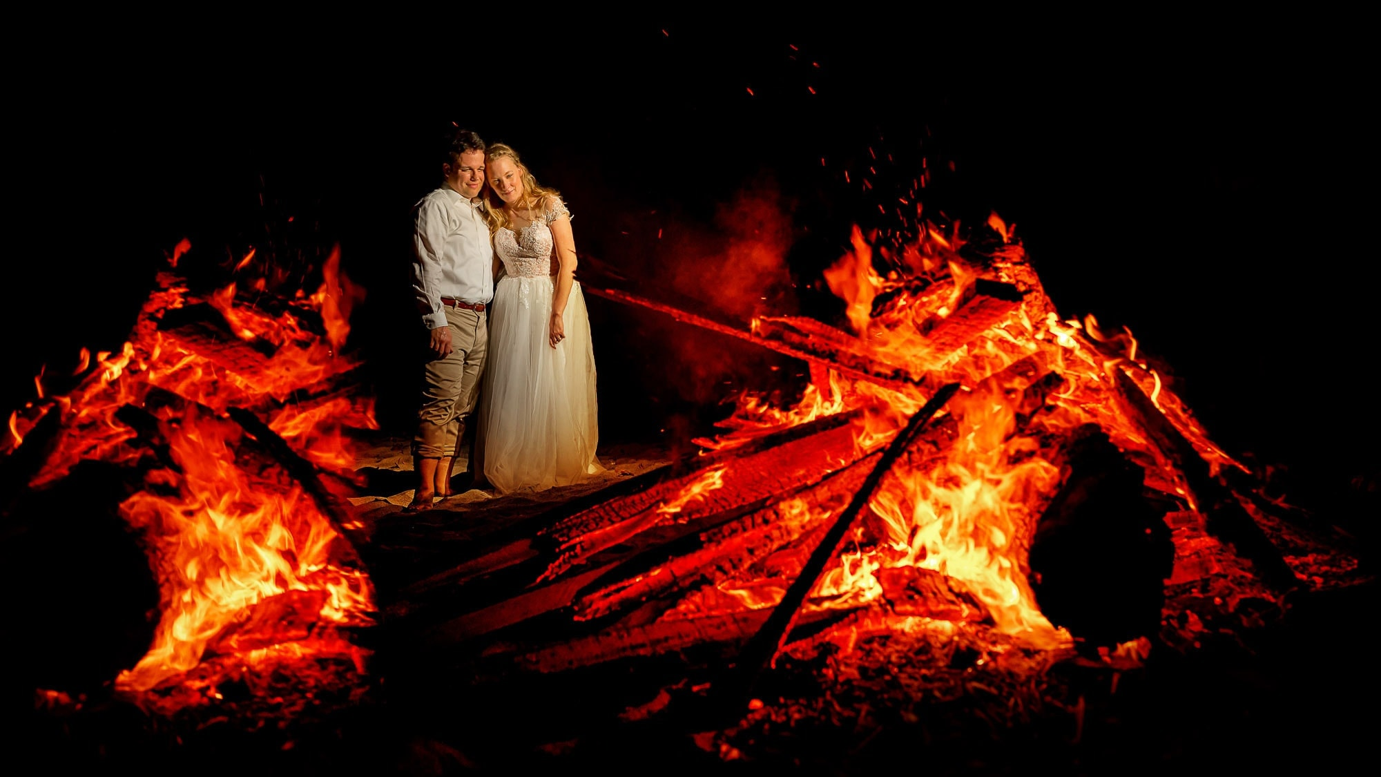 wedding with bonfire