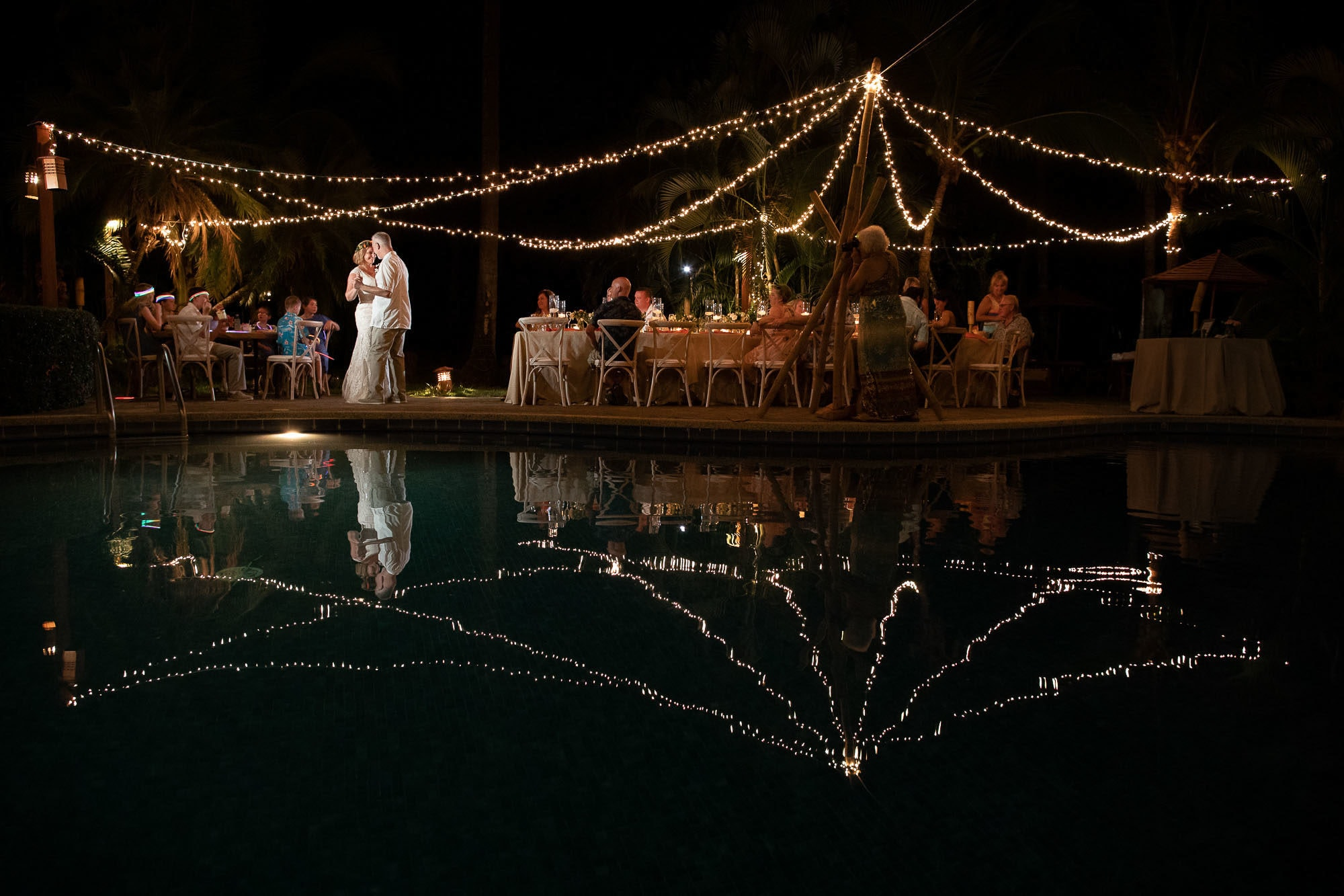 first dance in costa rica lights and pool