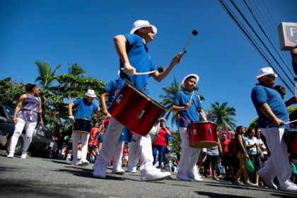 Drummers marching in the Independence Day Parade