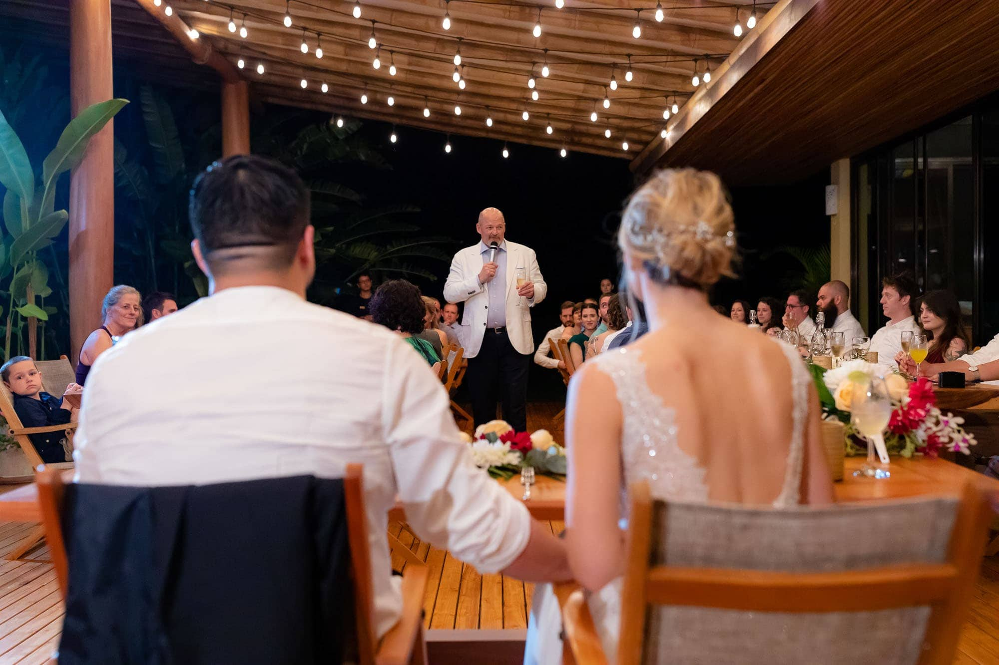 Speaking at the reception of a glamping wedding