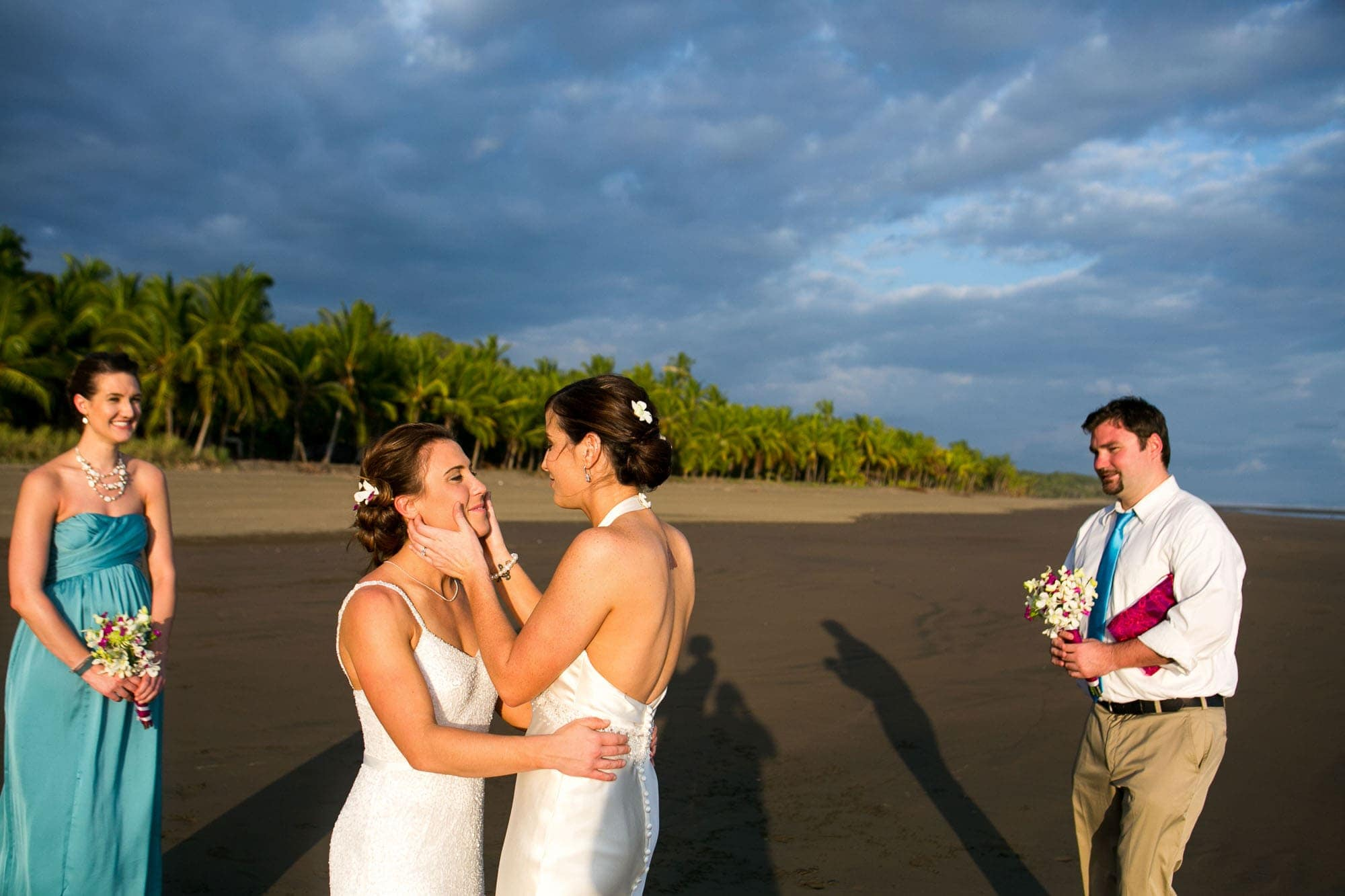 Same sex wedding on beach in costa rica