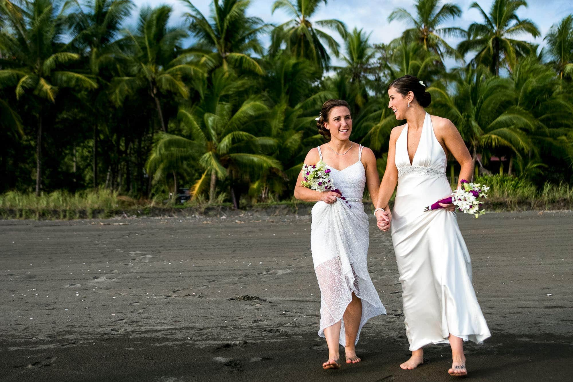 two brides at wedding in costa rica