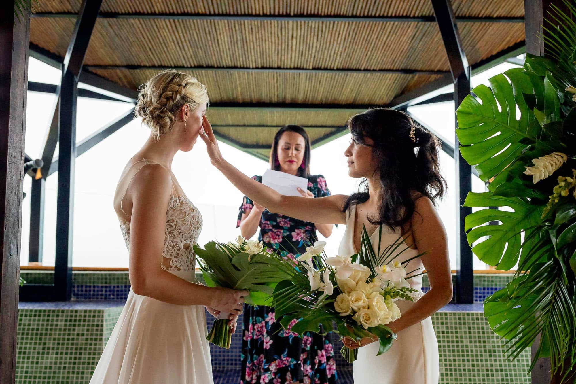 brides cry at ceremony