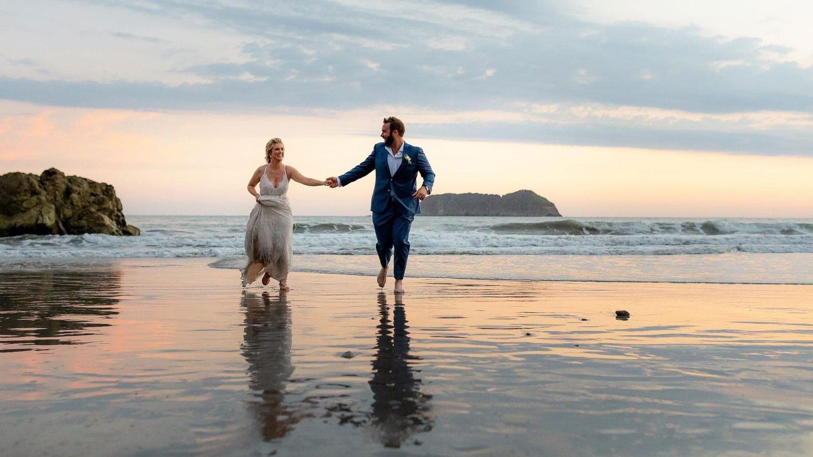 couple on beach in costa rica