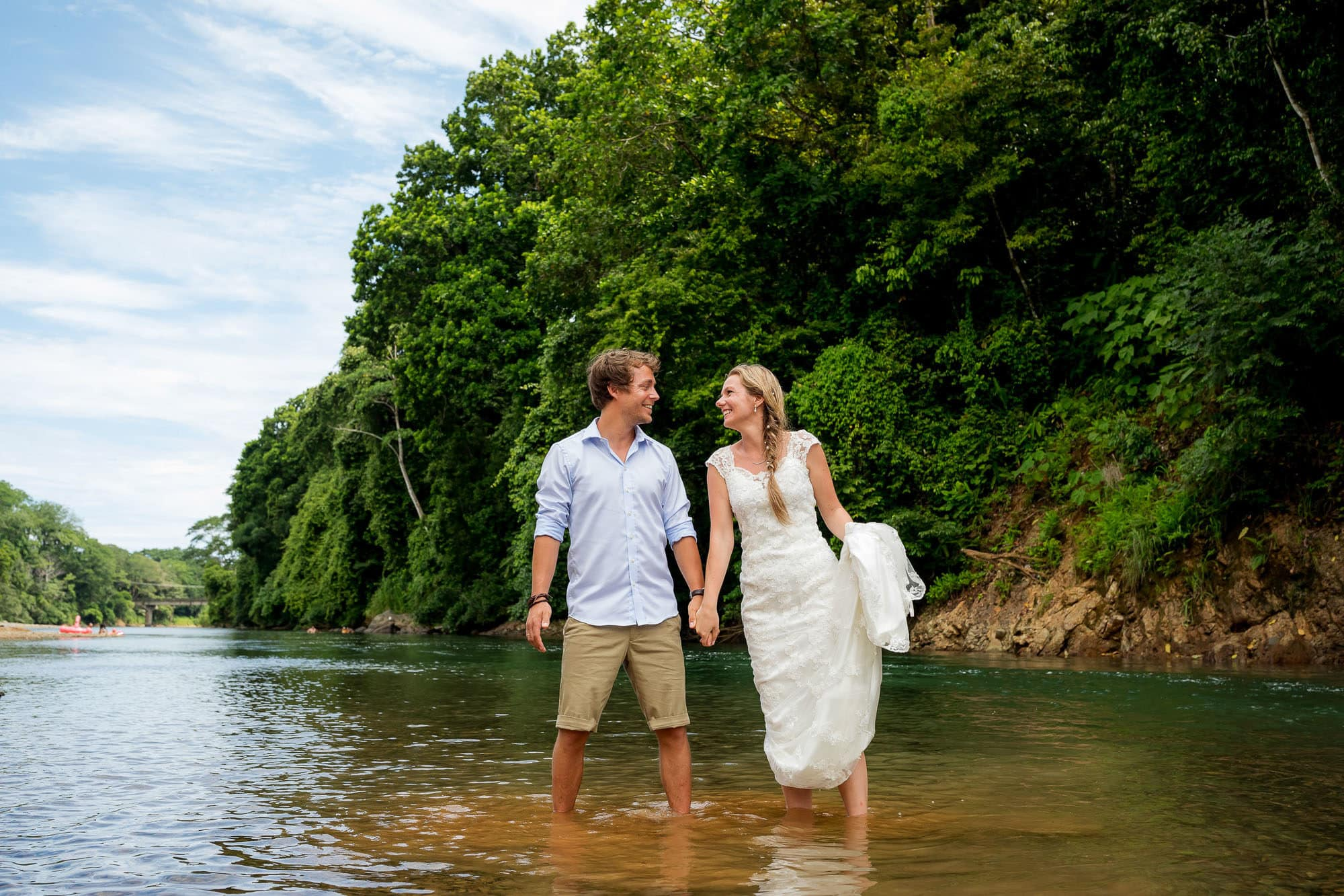 wedding couple in river