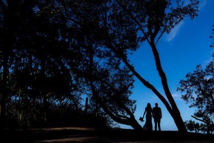 wedding couple at sunrise