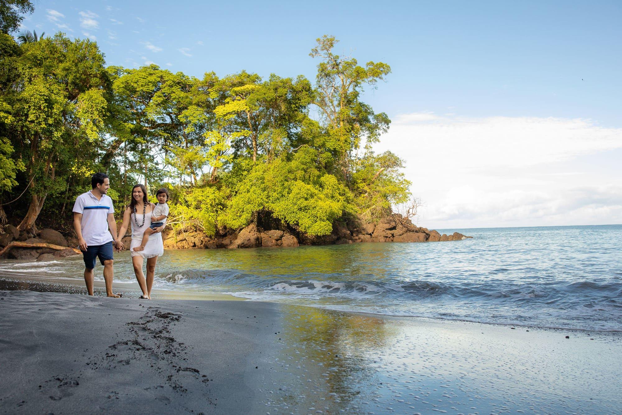 family portrait on beach in costa rica