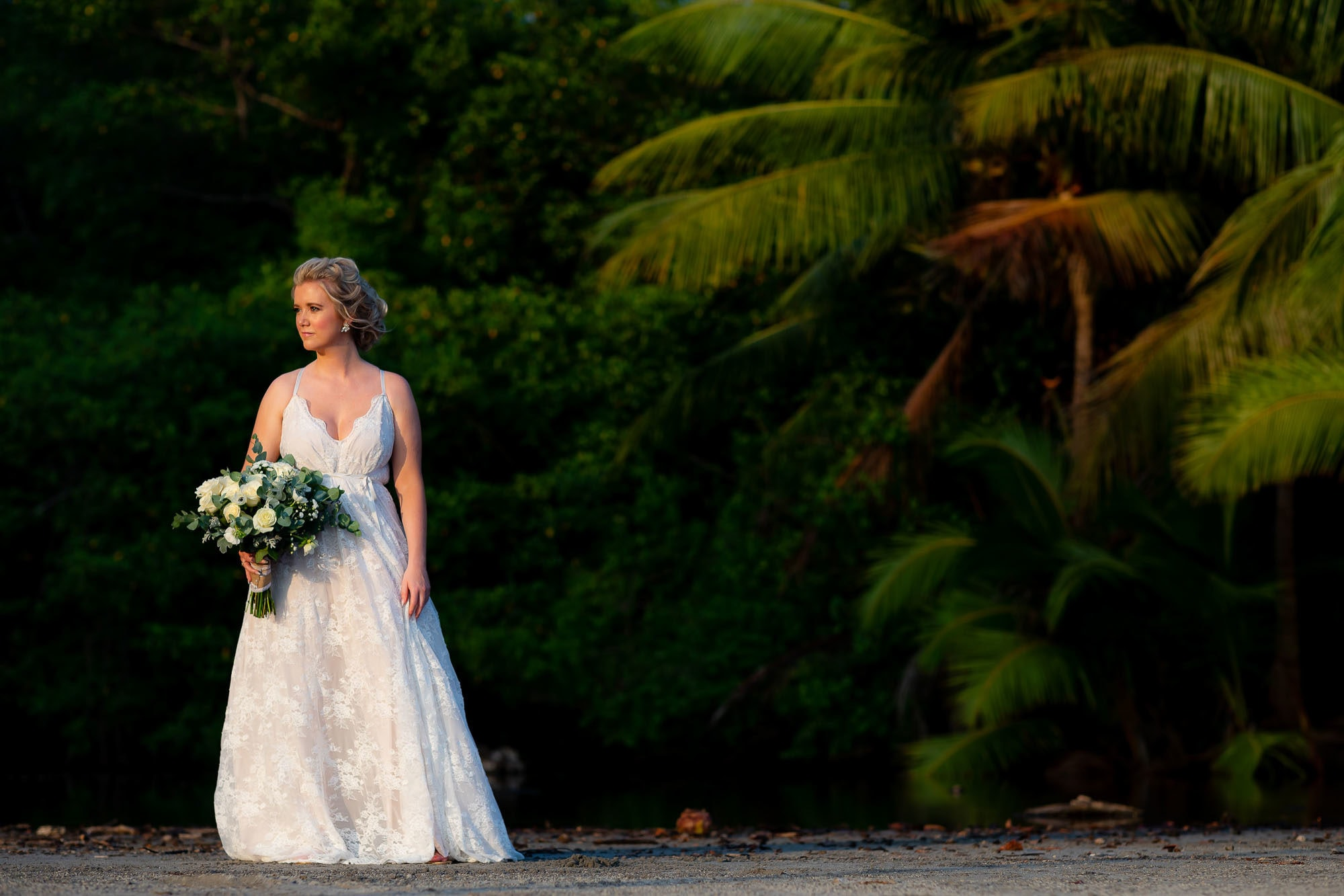 bride with palm trees