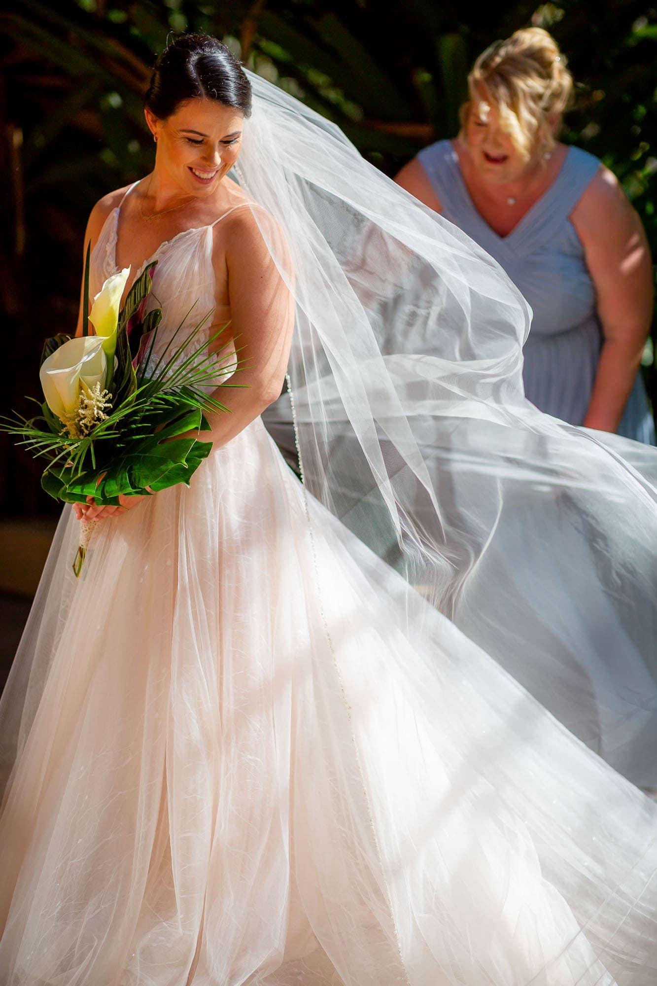 The bride preparing to walk down the aisle