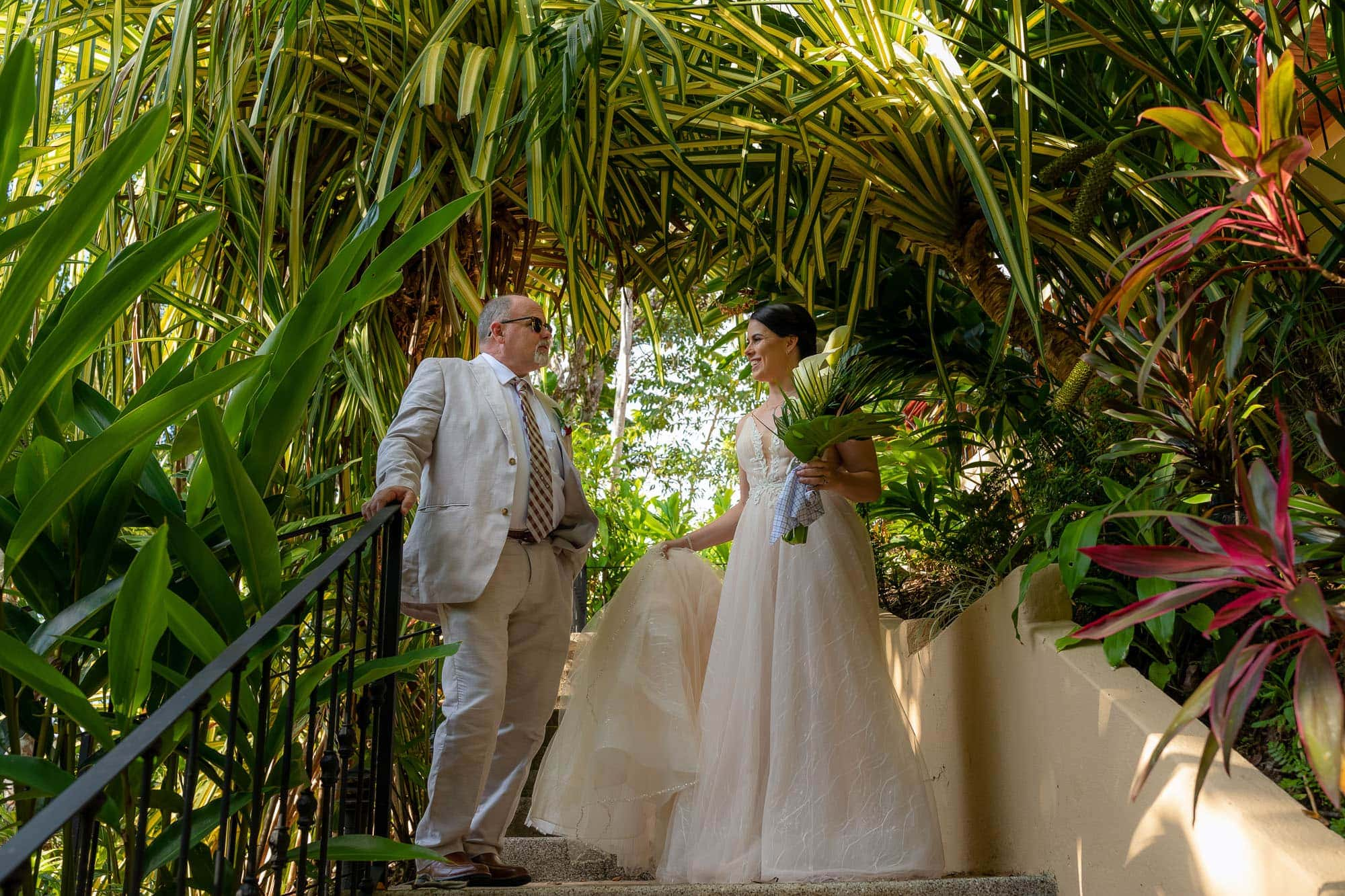 A moment with the father of the bride tying the knot in Costa Rica