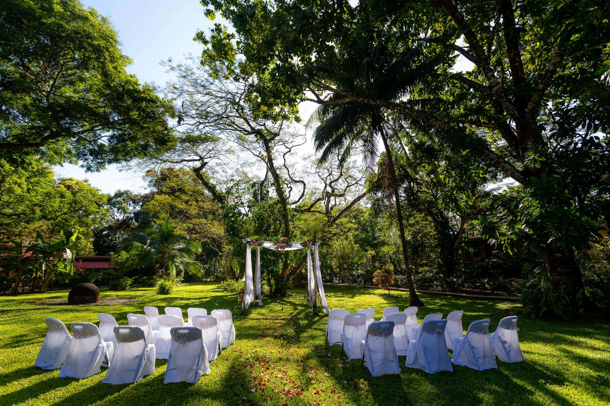 The garden ceremony site for tying the knot in Costa Rica