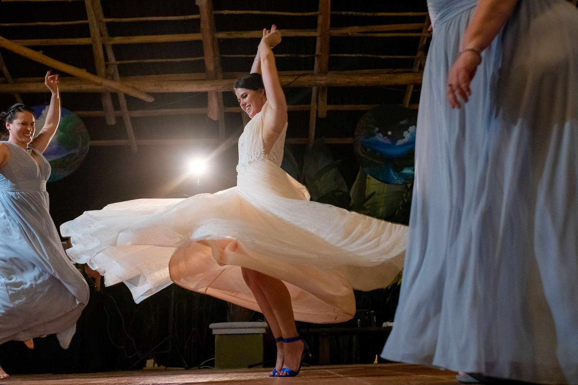 bride on the dance floor at doce lunas