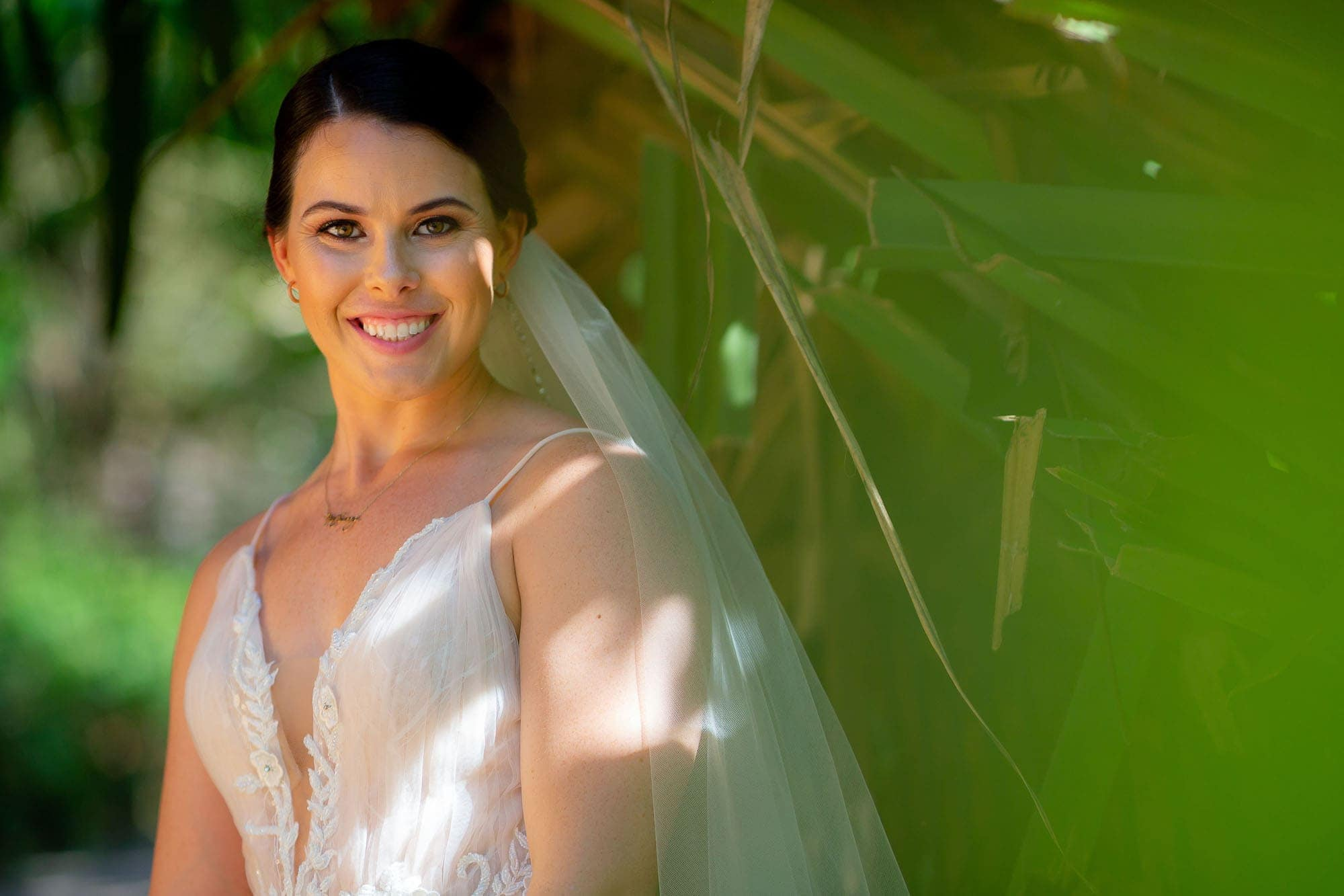 bride ready for her wedding in the jungle